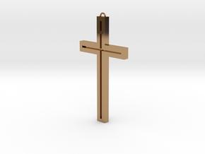 Modern Cross in Polished Brass