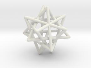 Tetrahedron 4 Compound, round struts in White Natural Versatile Plastic