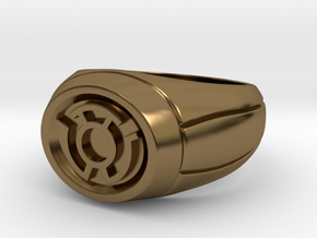 Yellow Lantern Ring in Polished Bronze