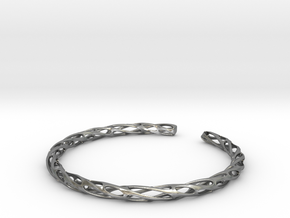 Twisted Pierced Bangle No.2 in Natural Silver