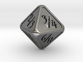 'Simple' D8 Tarmogoyf P/T balanced die in Polished Silver