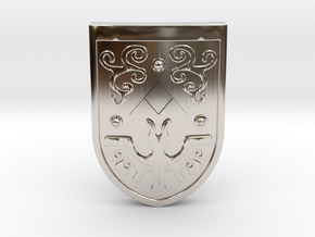 Toon Hero's Shield in Rhodium Plated Brass