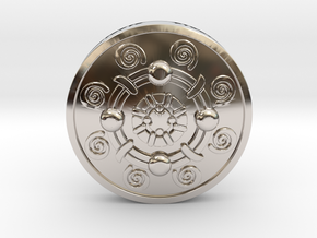 Iron Banded Shield in Rhodium Plated Brass
