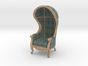 1:24 Half Scale Highland Plaid Carrosse Chair in Full Color Sandstone