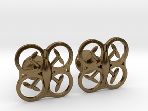 Drone Cufflinks in Polished Bronze