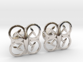 Drone Cufflinks in Rhodium Plated Brass