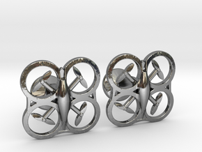 Drone Cufflinks in Fine Detail Polished Silver