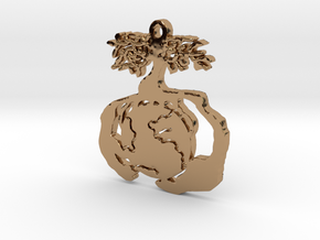 Earth Tree Conservation Necklace Pendant in Polished Brass