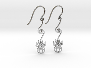Spider Earrings in Fine Detail Polished Silver