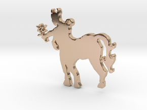 Centaur with a Flower Necklace Pendant in 14k Rose Gold Plated