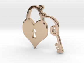 Heart Lock and Key Necklace Pendant in 14k Rose Gold