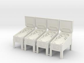 4 X Miniature Pinball Machines in White Natural Versatile Plastic