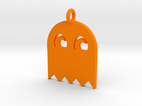 PacMan Ghost Pendant in Orange Strong & Flexible Polished