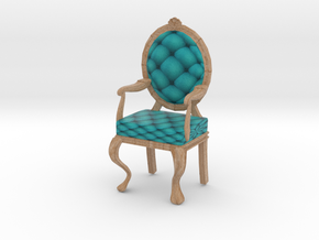 1:12 One Inch Scale TealPale Oak Louis XVI Chair in Full Color Sandstone