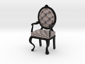 1:12 One Inch Scale SilverBlack Louis XVI Chair in Full Color Sandstone