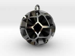 Voronoi sphere 3 in Fine Detail Polished Silver