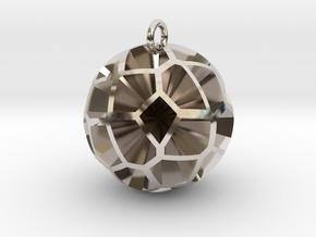 Voronoi sphere 3 in Rhodium Plated Brass