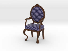 1:24 Half Inch Scale NavyDark Oak Louis XVI Chair in Full Color Sandstone