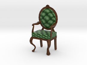 1:24 Half Inch Scale PineDark Oak Louis XVI Chair in Full Color Sandstone