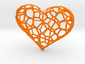 Voronoi heart in Orange Processed Versatile Plastic