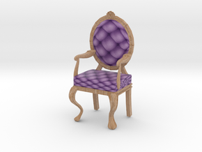 1:24 Half Inch Scale LavPale Oak Louis XVI Chair in Full Color Sandstone