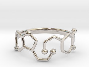 Dopamine Serotonin Molecule Ring - Size 11  in Rhodium Plated Brass