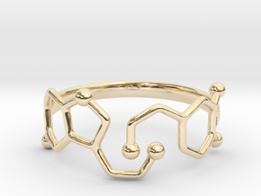Dopamine Serotonin Molecule Ring - Size 11  in 14k Gold Plated Brass