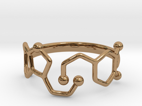 Dopamine Serotonin Molecule Ring  Size 9 in Polished Brass