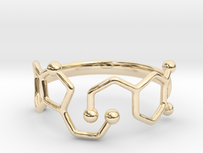 Dopamine Serotonin Molecule Ring  Size 9 in 14K Yellow Gold
