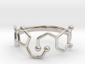 Dopamine Serotonin Molecule Ring  Size 9 in Platinum