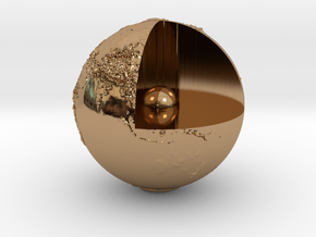 Earth with relief in Polished Brass