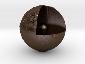 Earth with relief in Polished Bronze Steel
