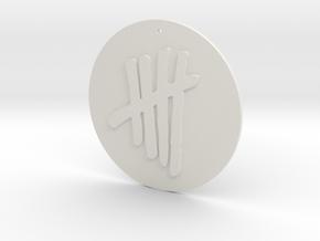 Tally Mark Pendant style 2 in White Natural Versatile Plastic