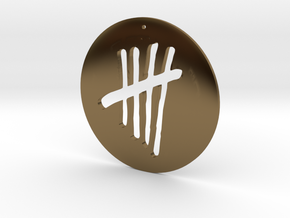 Tally Mark Pendant style 1 in Polished Bronze