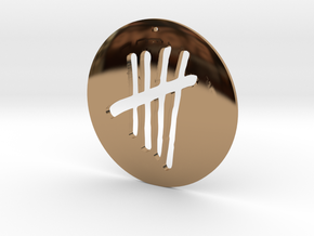 Tally Mark Pendant style 1 in Polished Brass