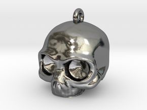 Skull Pendant in Fine Detail Polished Silver