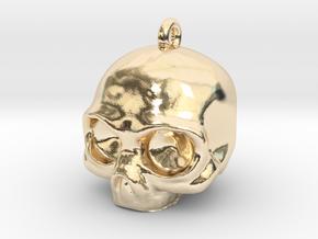 Skull Pendant in 14k Gold Plated Brass