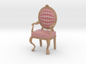 1:12 Scale Red Plaid/Pale Oak Louis XVI Chair in Full Color Sandstone