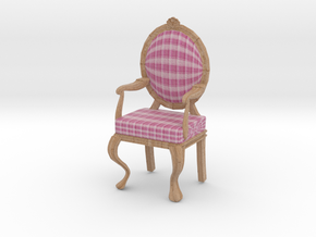 1:12 Scale Pink Plaid/Pale Oak Louis XVI Chair in Full Color Sandstone