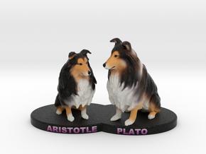Custom Dog Figurine - PlatoAristotle in Full Color Sandstone