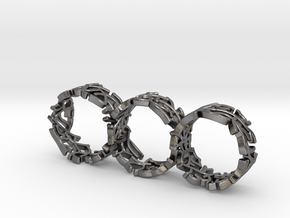 Triple Coral Rings in Polished Nickel Steel