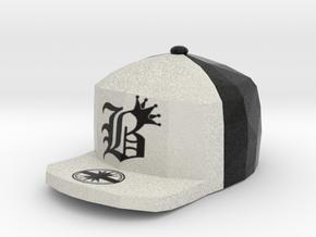 8 Bit King black and White Hat Pendant in Full Color Sandstone
