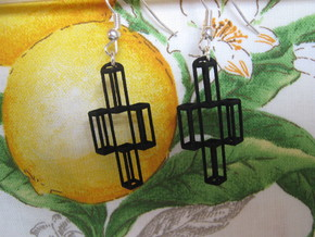 Parallelepiped Earrings in Black Natural Versatile Plastic