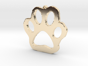 Paw Print Necklace Pendant in 14k Gold Plated Brass