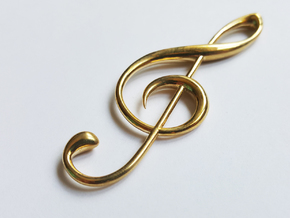 Classic Treble Clef Pendant in Polished Brass