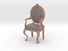 1:12 Scale Purple Damask/Pale Oak Louis XVI Chair in Full Color Sandstone