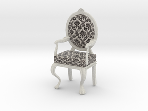 1:12 Scale Black Damask/White Louis XVI Chair in Full Color Sandstone