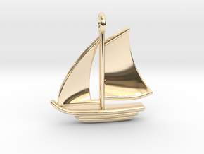 Large Sailboat Pendant in 14K Yellow Gold