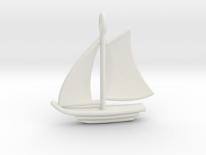 Large Sailboat Pendant in White Natural Versatile Plastic