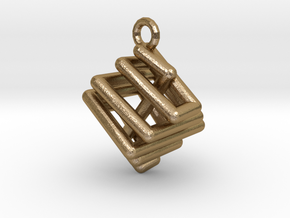 Ring-in-a-Cube-03 in Polished Gold Steel